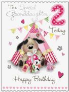Large Granddaughter 2nd Birthday  Fudge & Friends Card